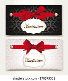 Elegant vintage invitation cards  with red silk bows