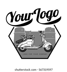 Elegant vintage scooter logo templates. Vintage style vintage scooter badges and labels. Black and white logo templates for your design. Vector illustration isolated on a white background