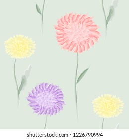 Elegant vintage seamless floral pattern with spring tender flowers and leaves, dandelions and red and violet Dahlia flower on light green background, Watercolor hand drawn eps 10 vector illustration