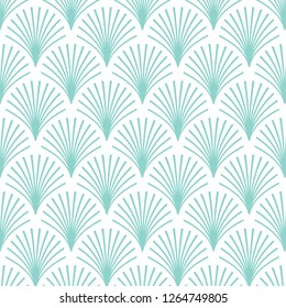 Elegant vintage style Art Deco Seamless Fan Pattern/stylized mint green palm leaf motif pattern on white background