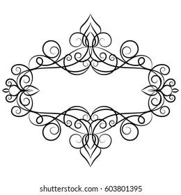 Elegant vintage template frame. Monogram design element