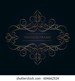 Elegant vintage template frame. Vector monogram