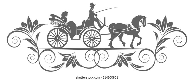 Elegant vintage  trooper and horse carriage with patterns