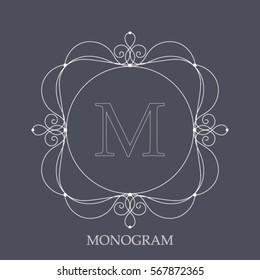 Elegant vintage vector frame. Classic monogram for one or two letter