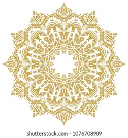 Elegant vintage vector ornament in classic style. Abstract traditional golden round pattern with oriental elements. Classic vintage pattern