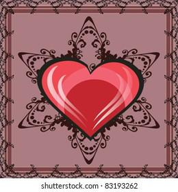Elegant violet background whit floral ornaments and heart