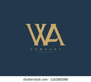 Elegant WA Letter Linked Monogram Logo Design