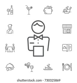 elegant waiter character icon on the white background. Simple Set of restaurant Vector Line Icons.