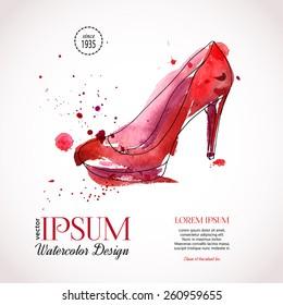 Elegant watercolor woman's shoe.  Design template for label, banner, postcard, flyer. Vector illustration.