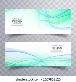 Elegant wavy banners set vector design