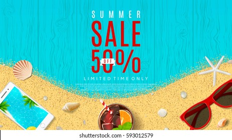 Elegant web banner for summer sale. Top view on sun glasses, seashells, fresh cocktail, smartphone and sea sand on wooden texture. Vector illustration with special discount offer.