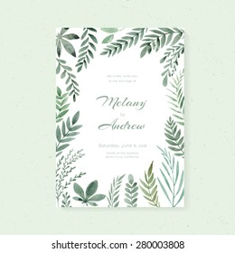 Elegant wedding card design with hand painted watercolor flowers. Artistic floral summer or spring bridal design.