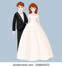 Elegant wedding couple. Vector illustration