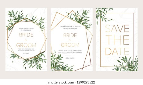 Elegant Wedding floral invitation, thank you modern card: ruscus italian wreath on white marble texture with a golden geometric pattern. Elegant rustic template. All elements are isolated and editable