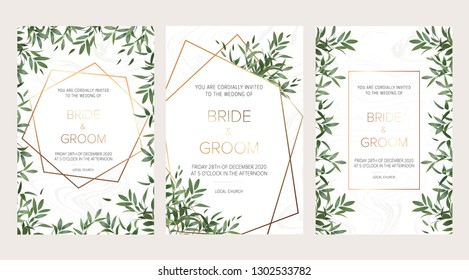 Elegant wedding floral invitation, thank you modern card: ruscus italian wreath on white marble texture with a golden geometric pattern. Rustic template. All elements are isolated and editable