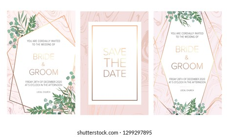 Elegant wedding floral invites, save the date card design with a ruscus leaves, forest plants, herbs composition & golden frame on the pink marble background. All elements are isolated and editable