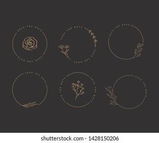 Elegant Wedding Floral Logo Element