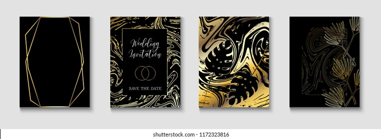 Elegant Wedding Invitatinon Golden Vector Set. Exotic Border, Pattern, Frame for Premium Rich Wedding Celebration. Tropical Leaves Sparkling Background, Minimal Geo Card Design. Gradient Luxury Set
