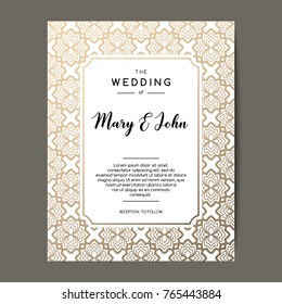 Elegant wedding invitation background. Card design with gold floral ornament. Vector decorative template.