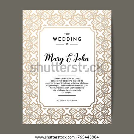 Elegant Wedding Invitation Background Card Design Stock Vector