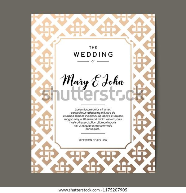 Elegant Wedding Invitation Background Card Design Stock