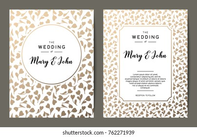Elegant wedding invitation backgrounds. Card design with gold floral ornament. Vector decorative templates.
