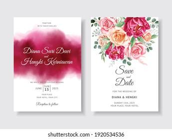 Elegant wedding invitation with burgundy floral watercolor