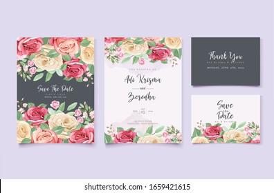 elegant wedding invitation card with floral wreath