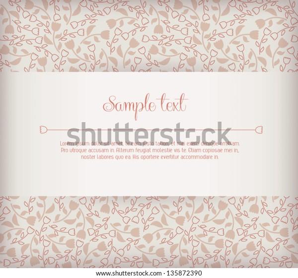 Elegant Wedding Invitation Card Sample Text Stock Vector