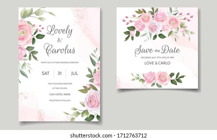 Elegant wedding invitation card template set with beautiful pink roses and green leaves