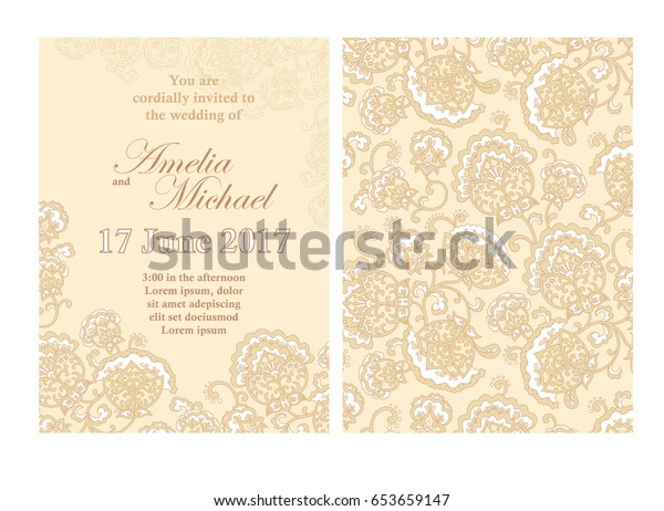 Elegant wedding invitation card template in beige colors. Flyer decorated with ornamental flower. Greeting card with floral pattern. Vertical Background. Vector illustrator. Stock vector.