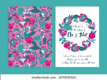 Elegant wedding invitation card Templates with flowers and pomegranate fruits. Print Design
