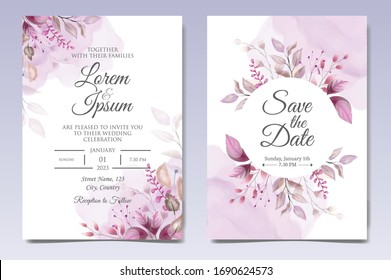 Elegant wedding invitation cards template with floral decoration