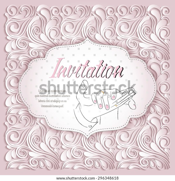 Elegant Wedding Invitation Floral Background Stock Vector