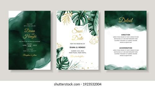 Elegant wedding invitation with green tropical watercolor