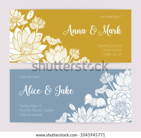 elegant wedding invitation or save the date card templates with beautiful blooming lotus flowers hand drawn