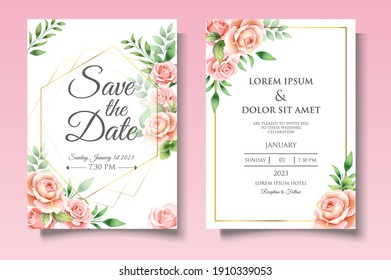 Elegant wedding invitation template with beautiful floral leaves