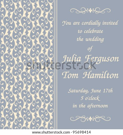elegant wedding invitation template blue background stock vector