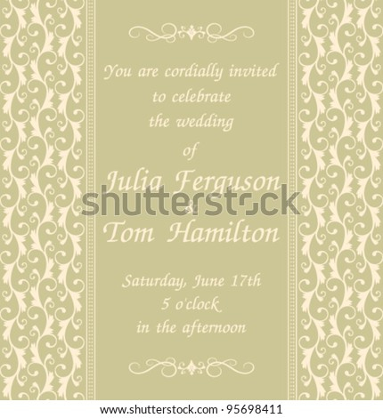 elegant wedding invitation template green background stock vector