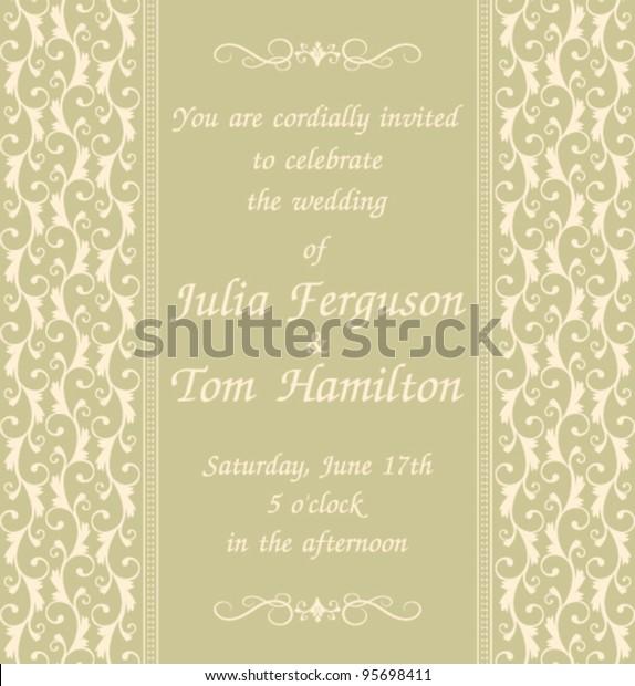 Elegant Wedding Invitation Template Green Background Stock Vector