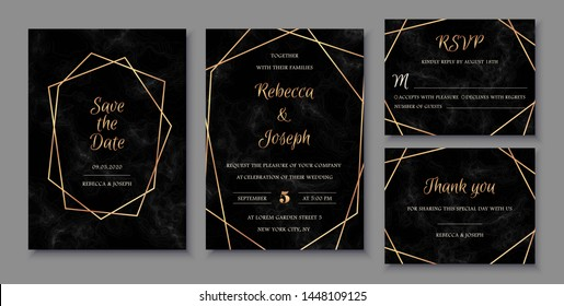 Elegant wedding invitations set with golden geometric frames and and black marble texture. Luxury invitation collection with save the date and rsvp card vector templates.