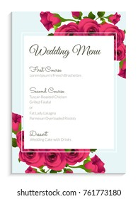 Elegant wedding menu card design, decorated with pink roses.