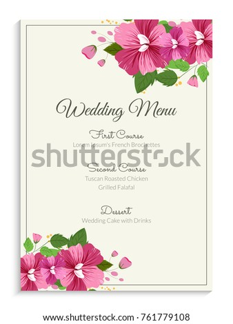 Elegant wedding menu card design decorated stock vector royalty elegant wedding menu card design decorated with pink flowers and green leaves mightylinksfo