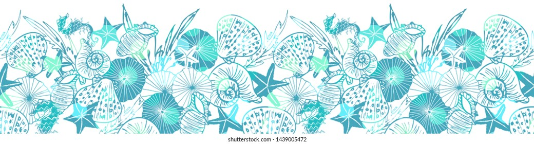 Elegant white and blue vector seahorse, starfish and seashell horizontal border with shiny bokeh effect. EPS10 file with transparency mode.