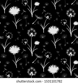 elegant white dandelions over black background in a seamless pattern tile. beautiful delicate white floral pattern for textile, fabric, backgrounds, wallpapers and creative surface design templates