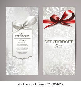 Elegant white gift certificates with silk ribbons and floral design