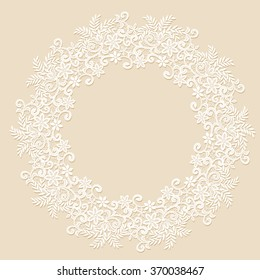 Elegant white lace frame with shadow on a beige background