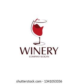 elegant wine glass logo template