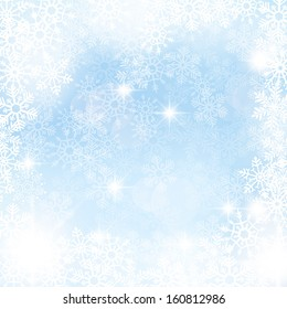 Elegant winter background made of snowflakes with blank space for your text.