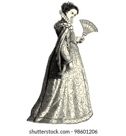 "Elegant woman of the 16th century - vintage engraved illustration - ""Costumes anciens et modernes "" by Cesare Veccello ed.Firmin-Didot  in 1859 - Paris"